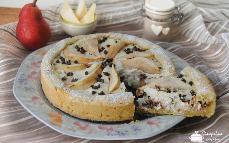 crostata ricotta e pere con gocce di cioccolato