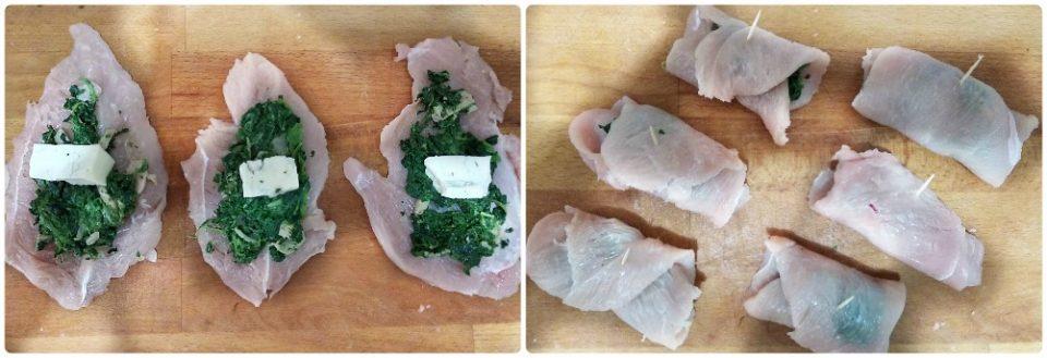 involtini di tacchino con spinaci e gorgonzola fasi