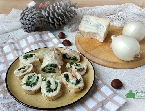 involtini di tacchino con spinaci e gorgonzola