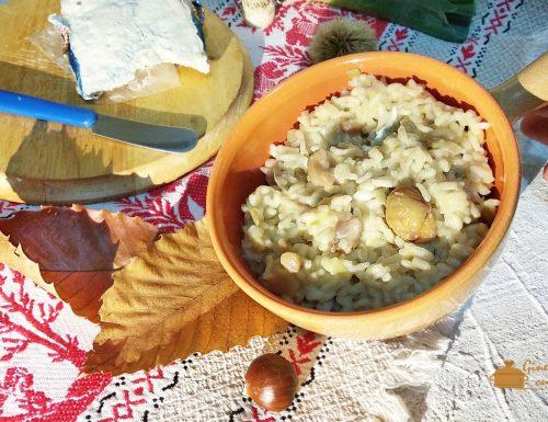 risotto con castagne porri e gorgonzola