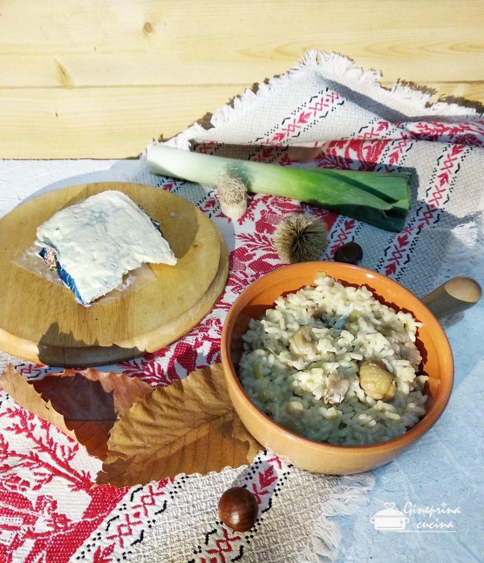 risotto con castagne, porri e gorgonzola