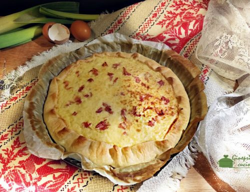 torta di patate porri e speck cotta in forno