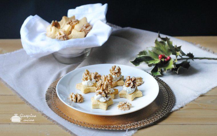 biscotti alle noci con crema gorgonzola e mascarpone