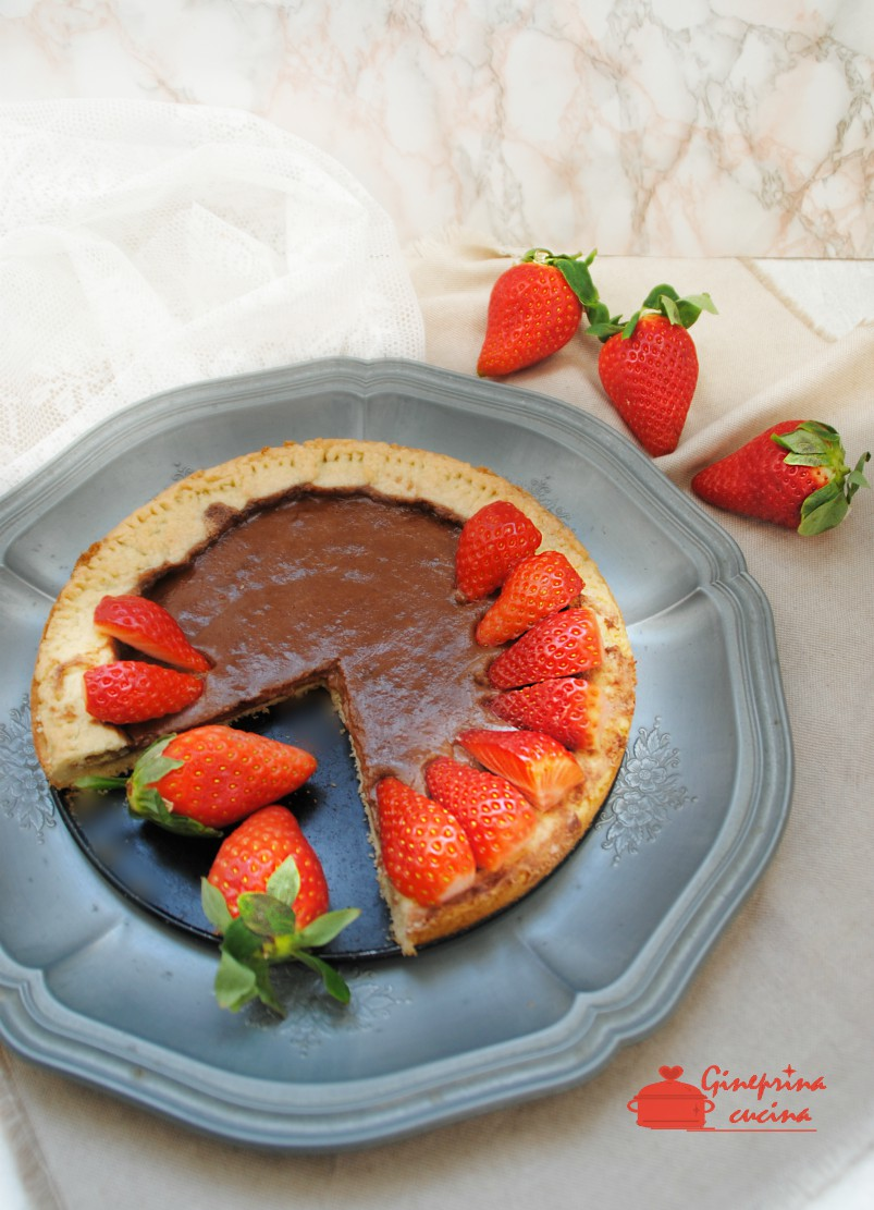 crostata nutella mascarpone e fragole