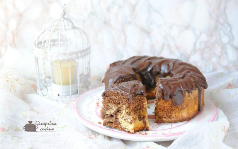 ciambella marmorizzata al caffè con glassa al cioccolato
