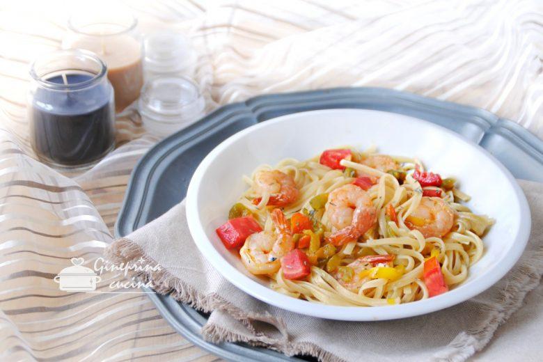 linguine con gamberetti e peperoni