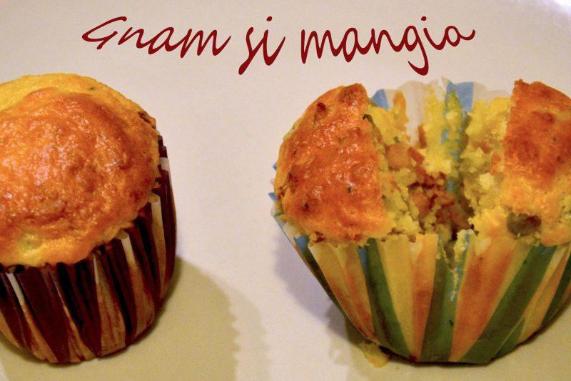 Muffin salati con piselli e pancetta affumicata