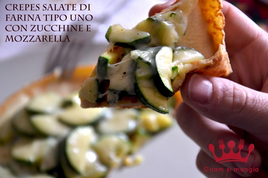 crepes salate di farina tipo uno con zucchine e mozzarella dettaglio