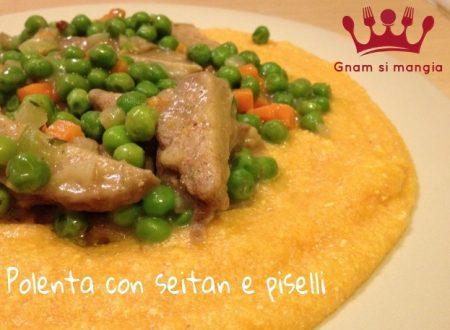 Ricetta vegan: polenta con seitan e piselli