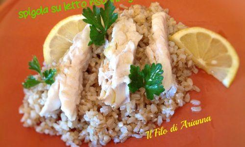 Spigola  su letto di riso integrale