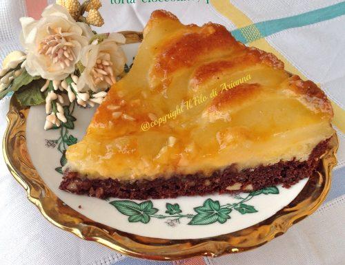 Torta cioccolato, pere e mandorle