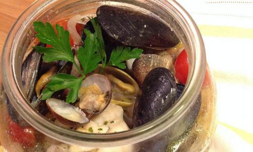 Zuppa di pesce in vasocottura con fagioli