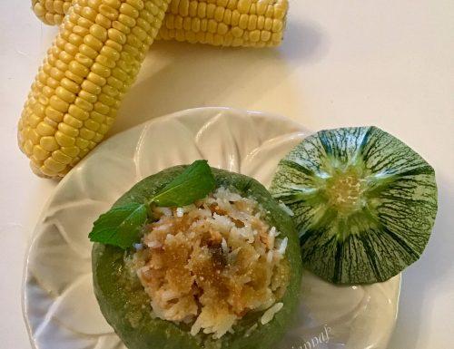 Zucchine ripiene di riso tonno scamorza