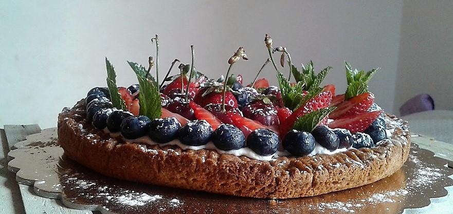 Crostata di Mais con crema di mascarpone e frutta fresca