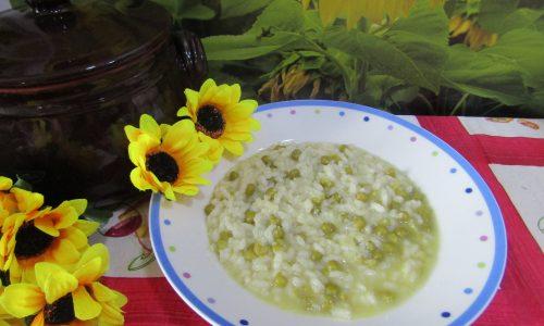 Risotto ai piselli con riso baldo dell'azienda agricola Carenzio