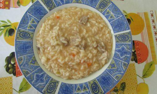 risotto con braciola (riso baldo integrale Azienda Carenzio)