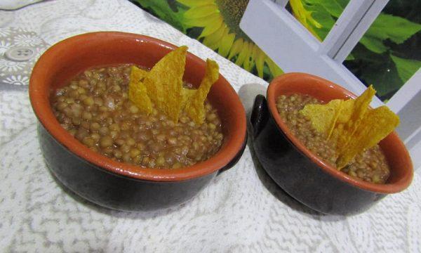 Zuppa contadina di lenticchie con croste di polenta BonTajer
