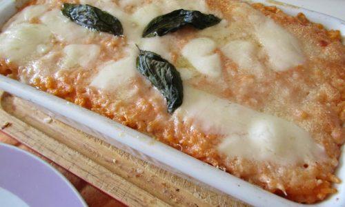 Mattonella di riso baldo, pomodoro fresco e Auricchio
