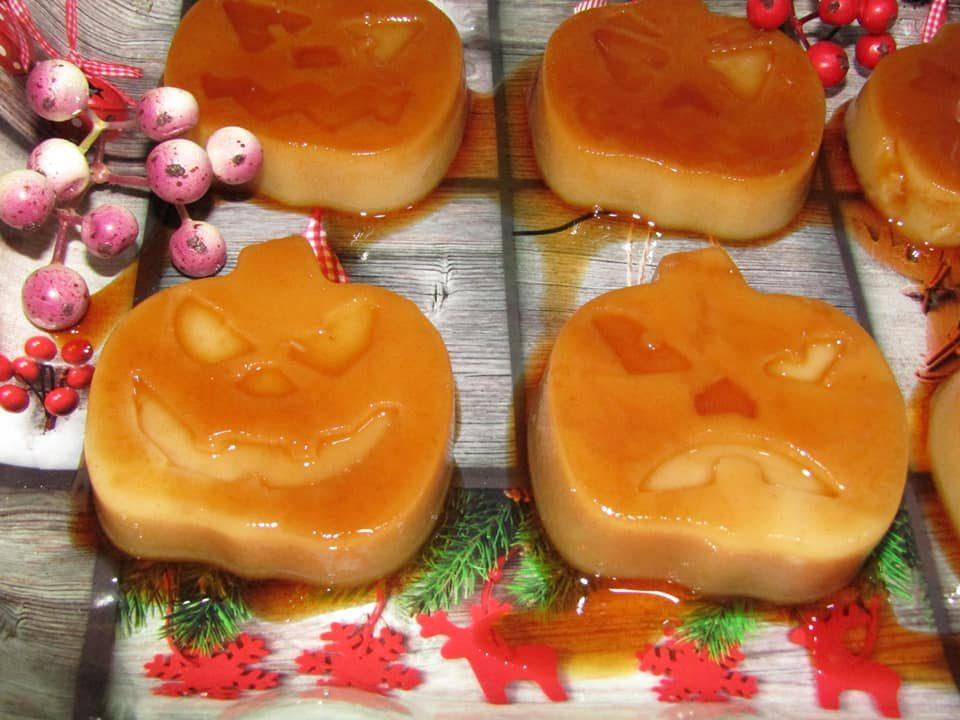 Zucche Di Halloween Terrificanti.Teste Di Zucca Terrificanti Di Halloween Al Creme Caramel