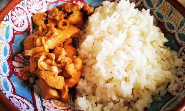Pollo in salsa teriyaki, porro e riso