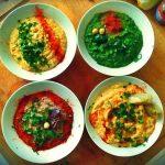 Hummus 4 modi (ceci,spinaci,radicchio,finocchio)