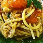 Spaghetti con datterini gialli e branzino su crema di agrett