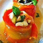 Filetti di peperone ripieni di orata e verdurine