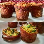 Muffin salati con patate, piselli e zucchine