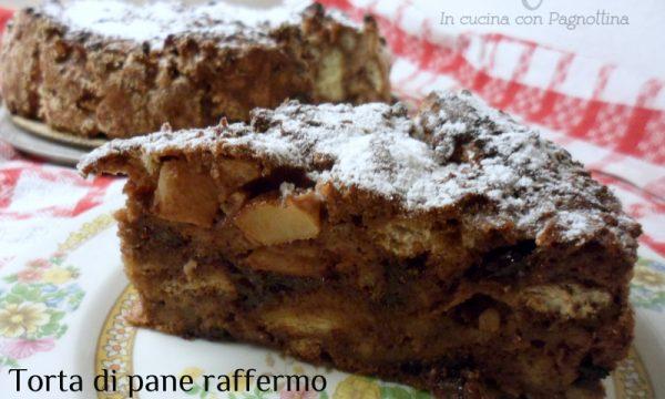 Torta di pane raffermo con mele e cioccolato