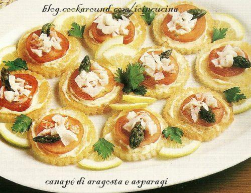 Canapè aragosta e asparagi