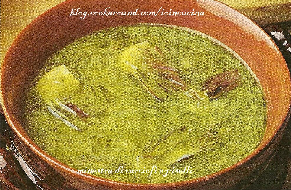minestra di carciofi e piselli