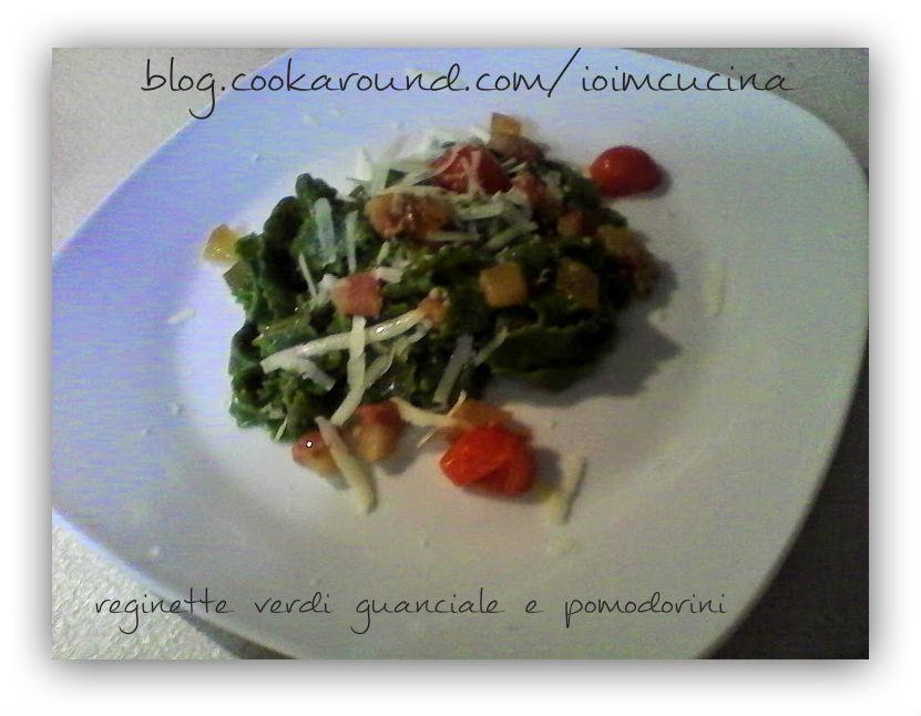 reginette verdi guanciale e pomodorini