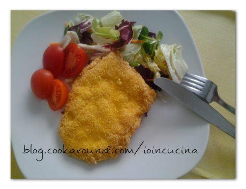 Cotoletta di pollo impanata con farina di mais