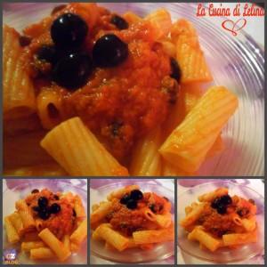 Rigatoni con sugo di olive e tonno ricetta veloce   La Cucina di Lelina