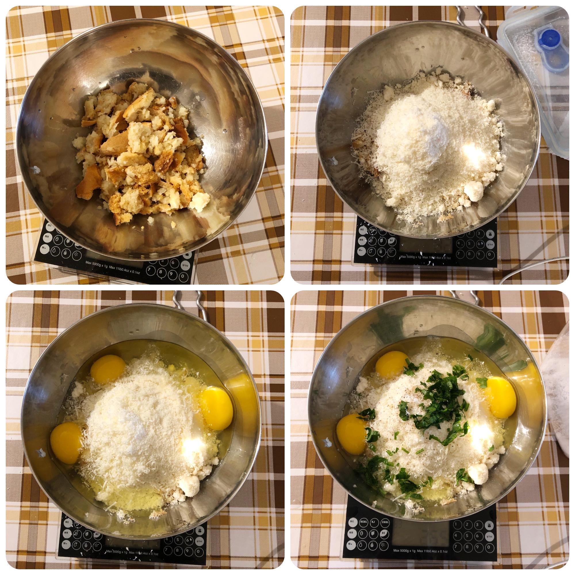 Polpette di pane e uova fasi