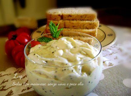 Salsa tipo maionese, senza uova e poco olio