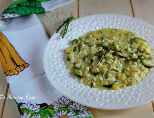 Risotto con asparagi selvatici, zucchine e taleggio