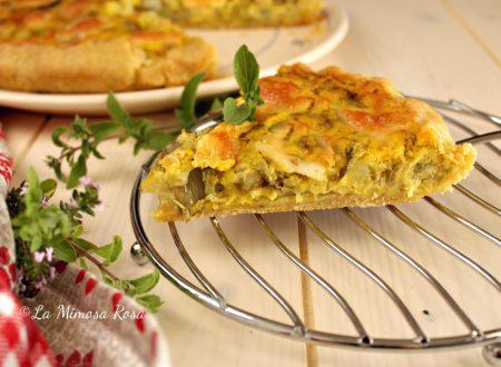 Torta salata cremosa con patate, carciofi e zafferano