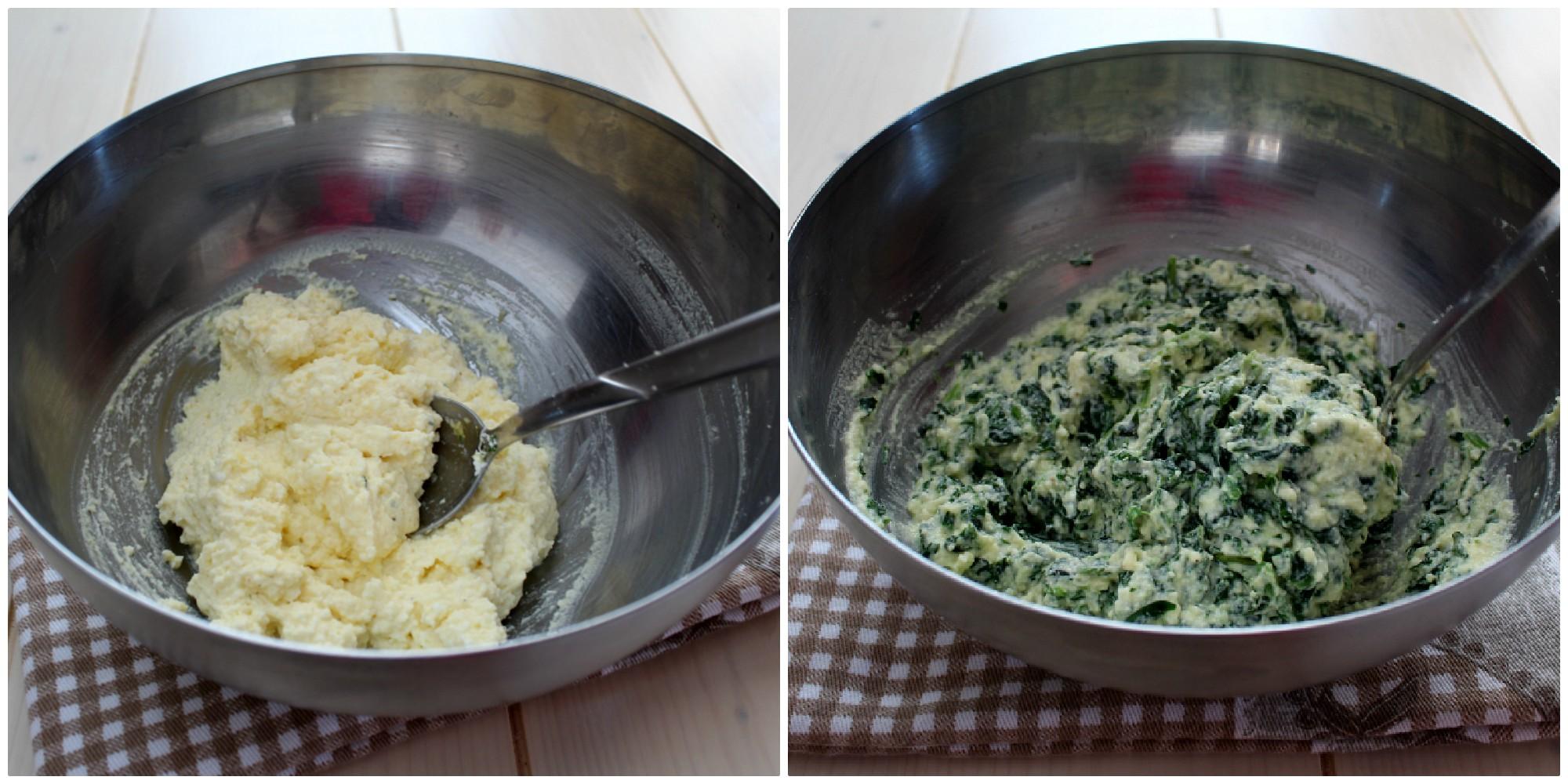 Torta salata ricotta e spinaci collage