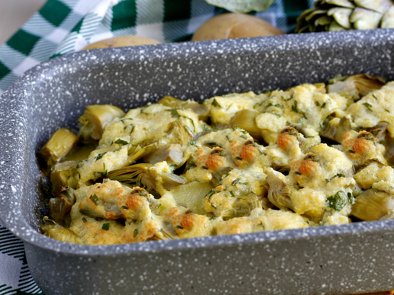Carciofi e patate al forno gratinati 1