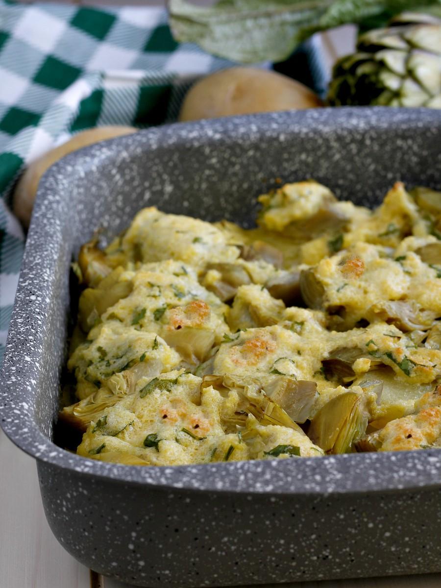 Carciofi e patate al forno gratinati