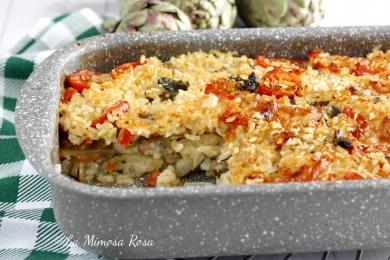 Tiella di riso patate e carciofi al forno