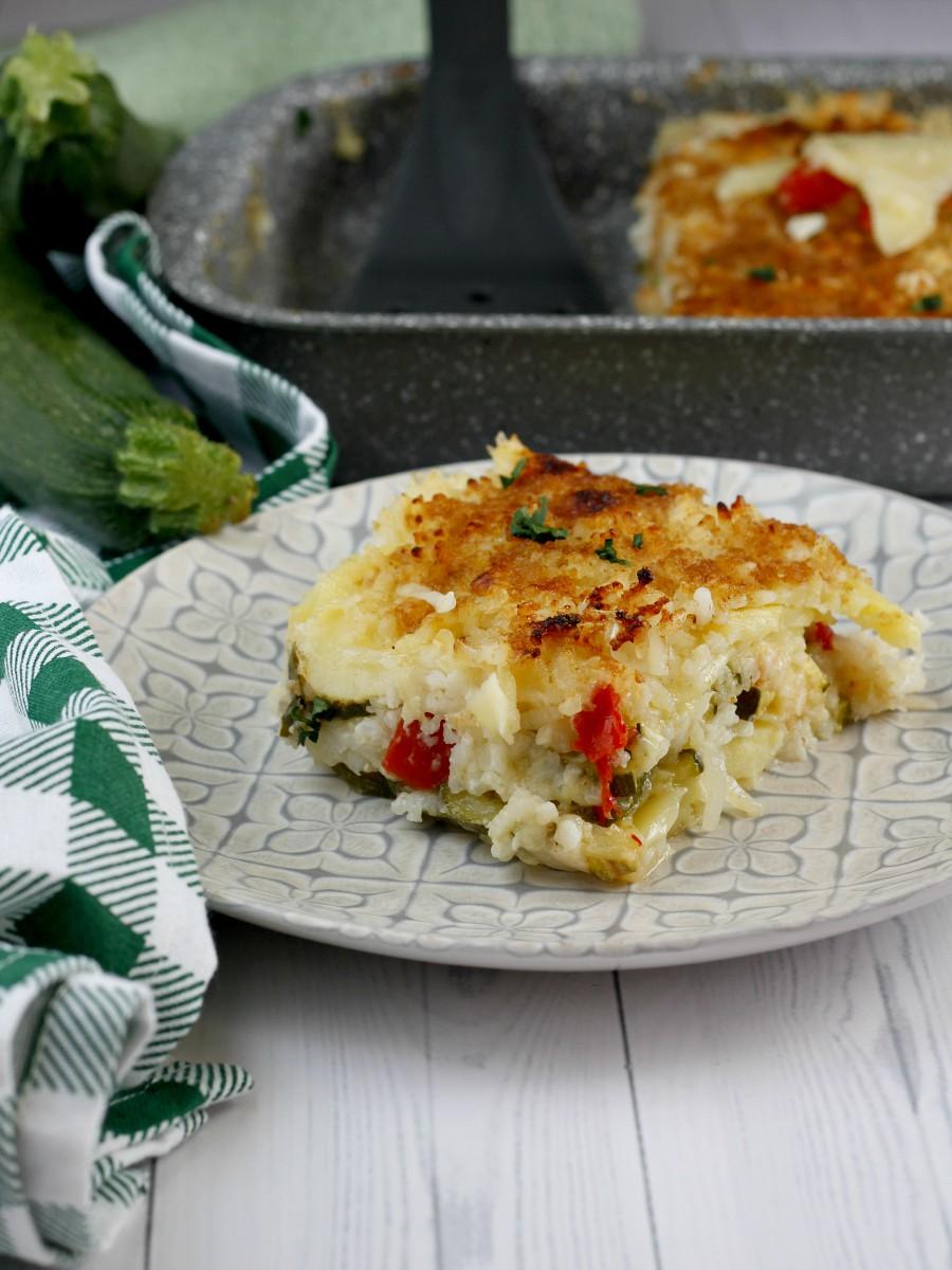 Riso patate e zucchine al forno ricetta