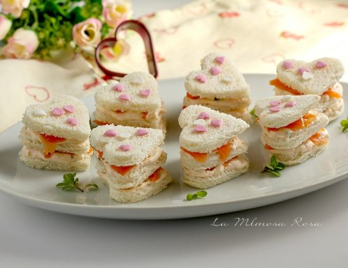 Antipasti di San Valentino, cuoricini al salmone