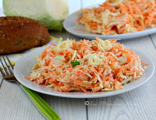 Insalata di cavolo e carote con salsa yogurt ( coleslaw )