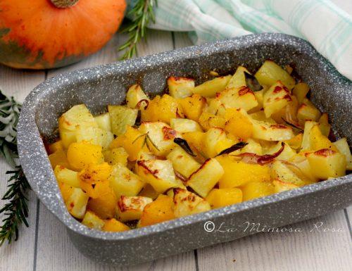 Zucca patate e cipolla al forno