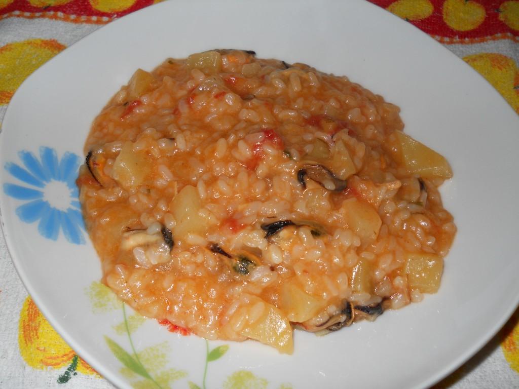il mio risotto con patate cozze e pomodoro