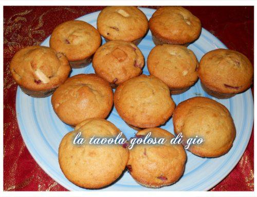 muffin con fragole e cioccolato bianco