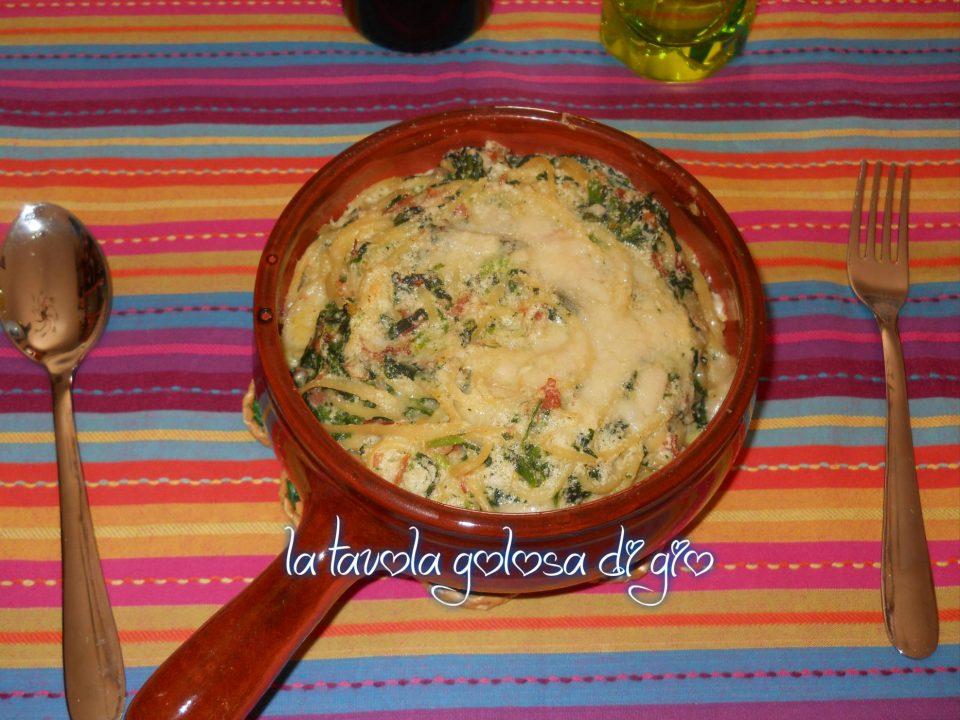 Soufflè di pasta con spinaci e prosciutto