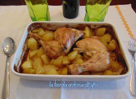 Pollo al forno con patate al vino